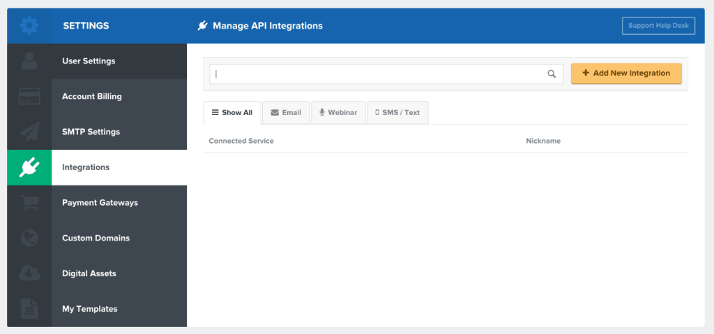 How to add new integration on click funnels