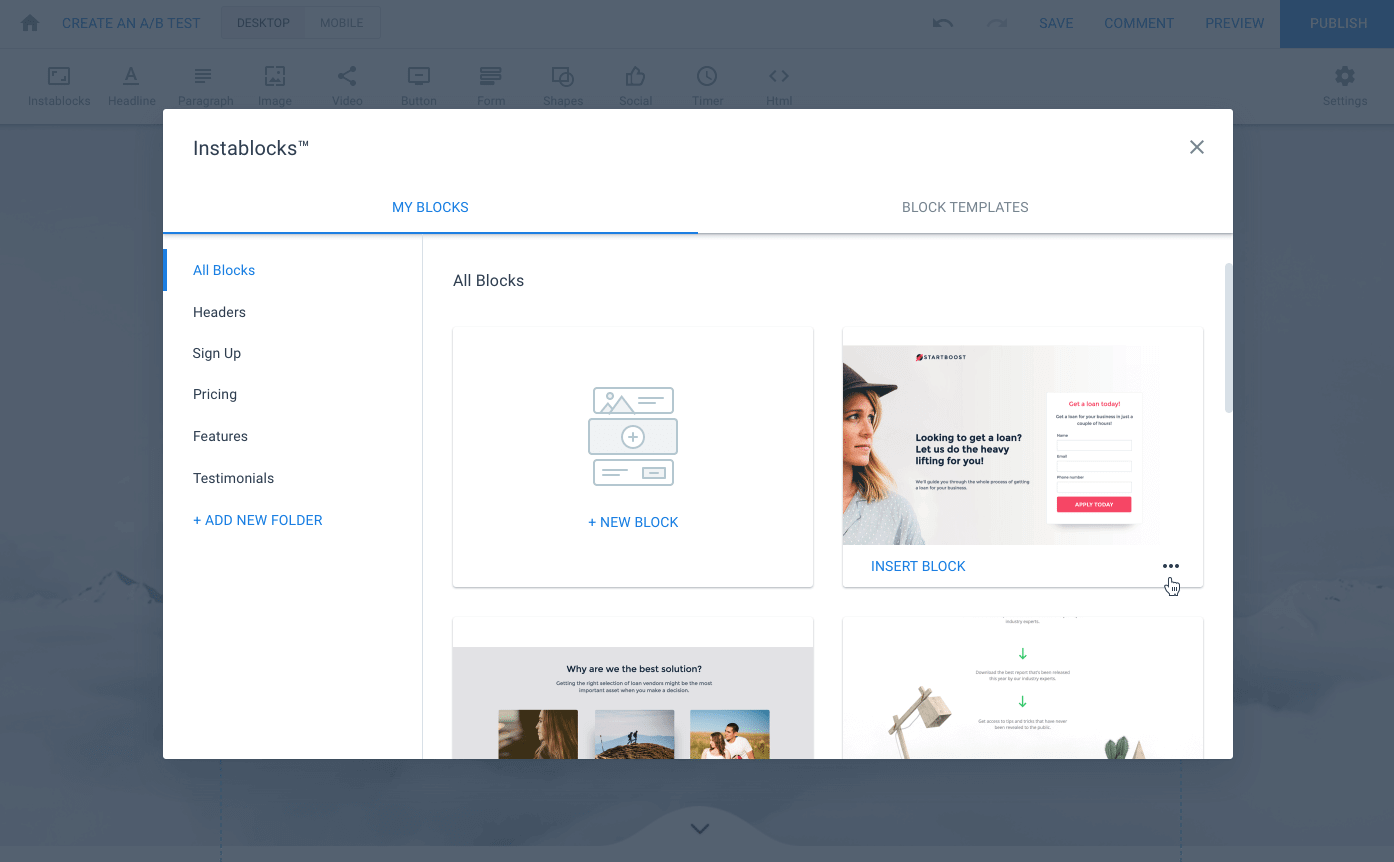 Instablocks - if you're looking to create landing pages then this landing page creator is good - improves conversion rates