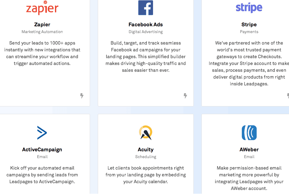 Leadpages integration options