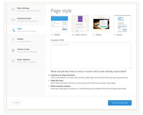landing page styling options in convertkit