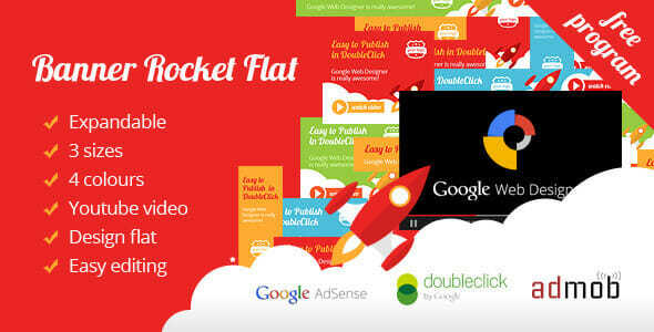 Banner Ad Rocket Flat Expandable with Youtube