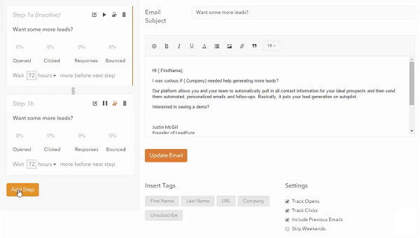Automated Outreach Emails - generate leads  - approach and schedule following emails - promote your product and services