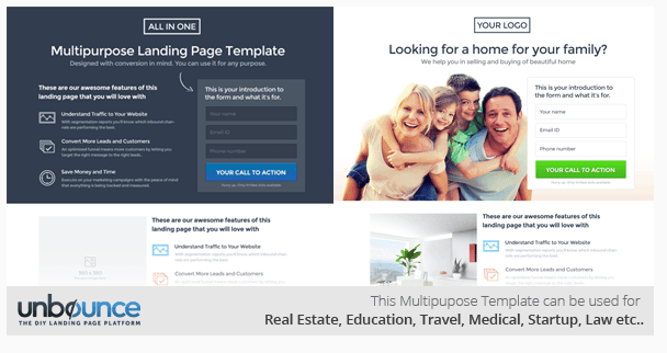High Converting Unbounce Landing Page Templates - Sample landing page template