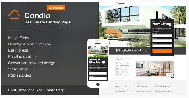 Condio - Real Estate Landing Page for Unbounce