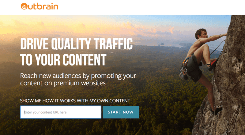 Outbrain landing page example