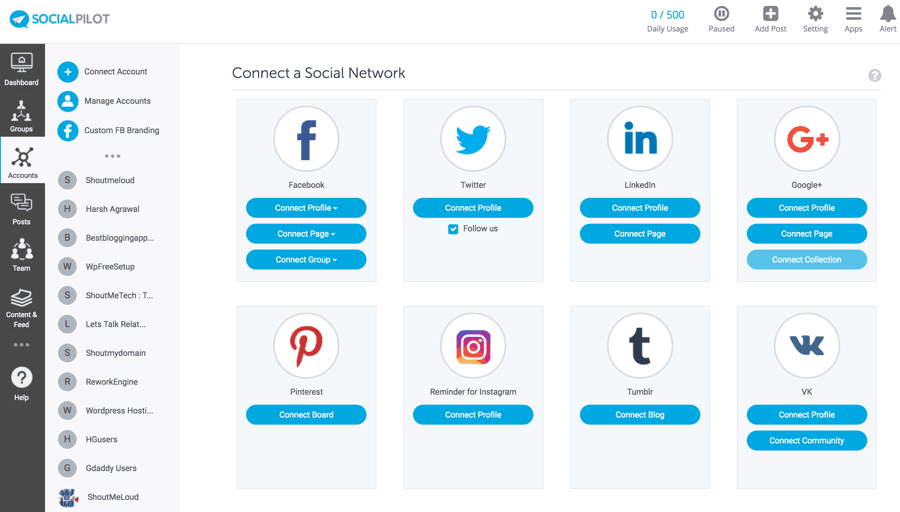 social-media-accounts-support - Buffer Alternatives social pilot that help you get content calendar and manage various social platforms