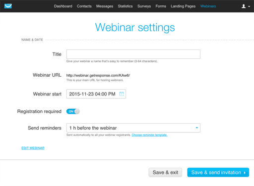 webinar feature settings - GetResponse exclusive