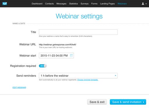 GetResponse Review webinar settings