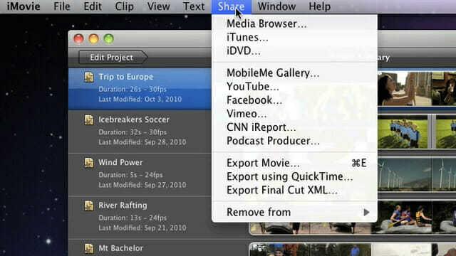 iMovie sharing-options