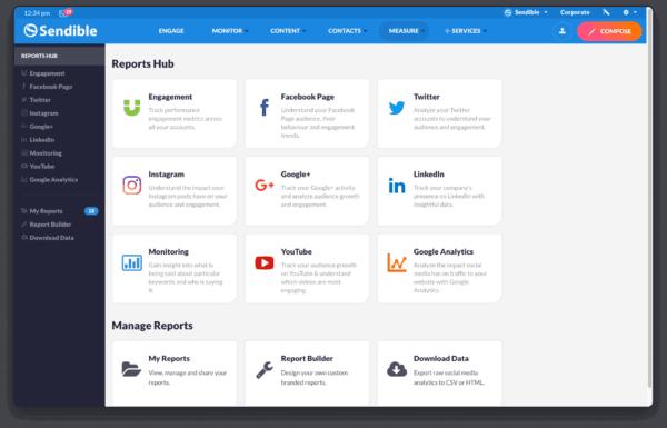 Facebook social media software and social profiles - content tool - posts management