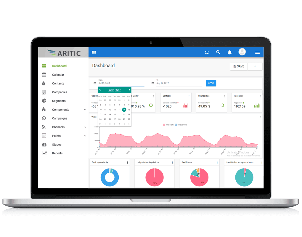 Aritic dashboard- direct mail - best tool with several features for your site - generate relevant leads at many level