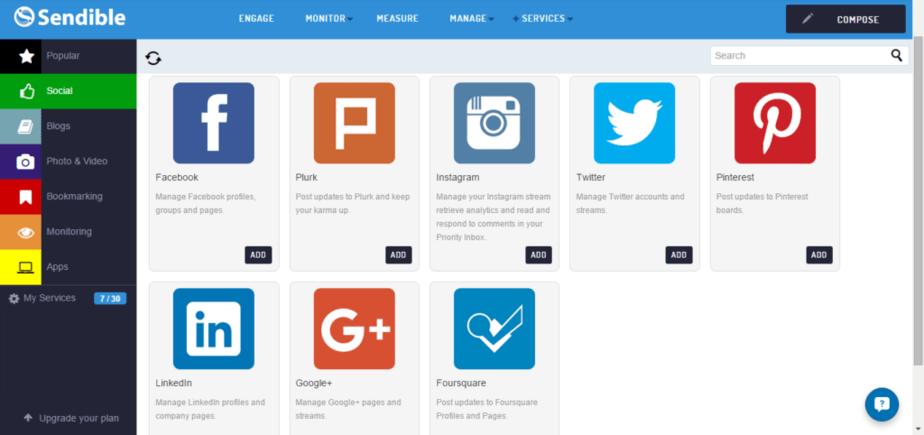 sendible integrations with multiple brands for social media