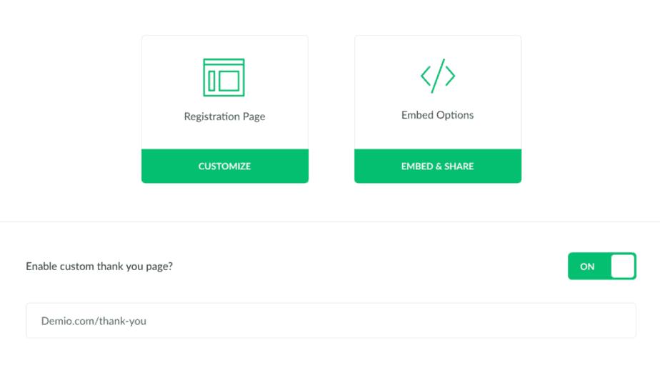 registration page with demio webinar platform