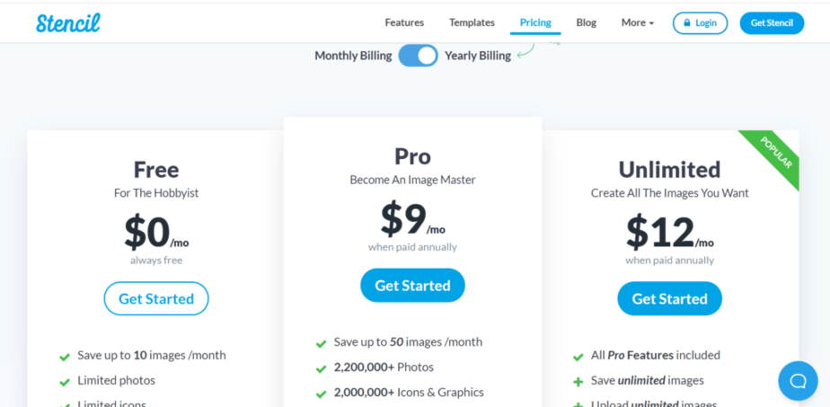 best canva alternatives and design tools Stencil - pricing plans  per month