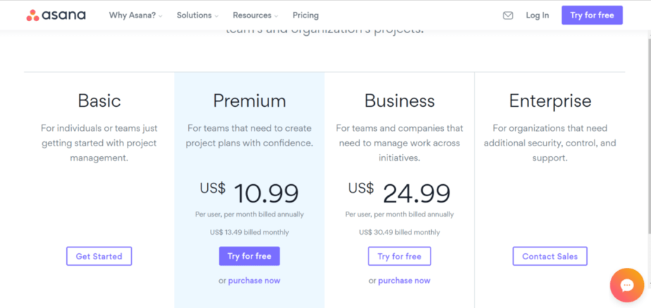 asana project management software that help you assign tasks - paid plans