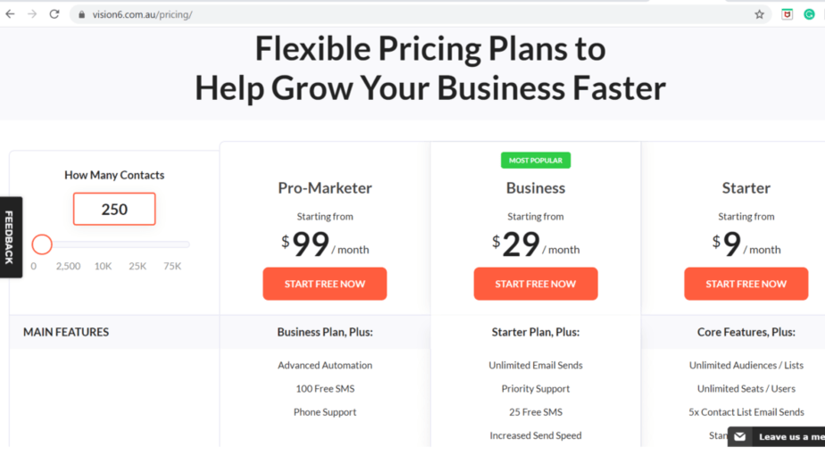 vision6 pricing - email automation easy to use - everything about writing emails made easy - sign up forms