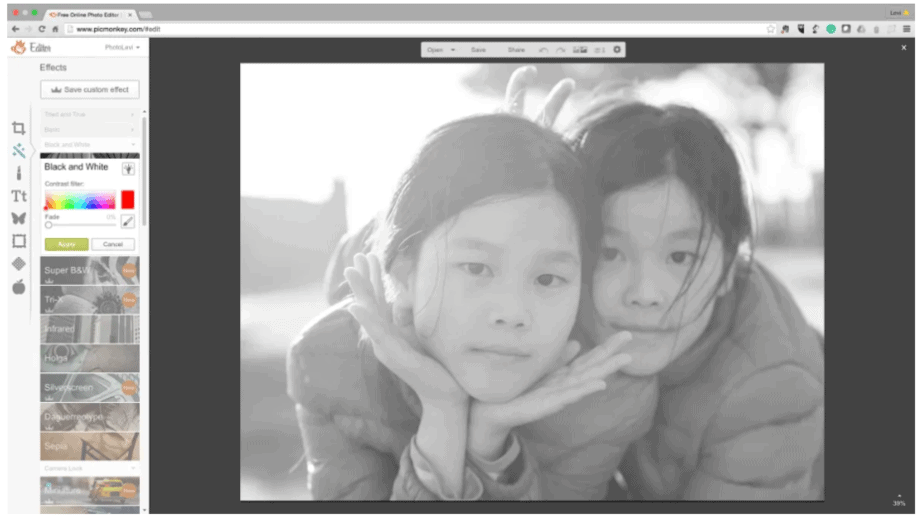 Get features like black and white image with tools like Picmonkey photo editor that are user friendly and make a great alternative to photoshop - free online editor