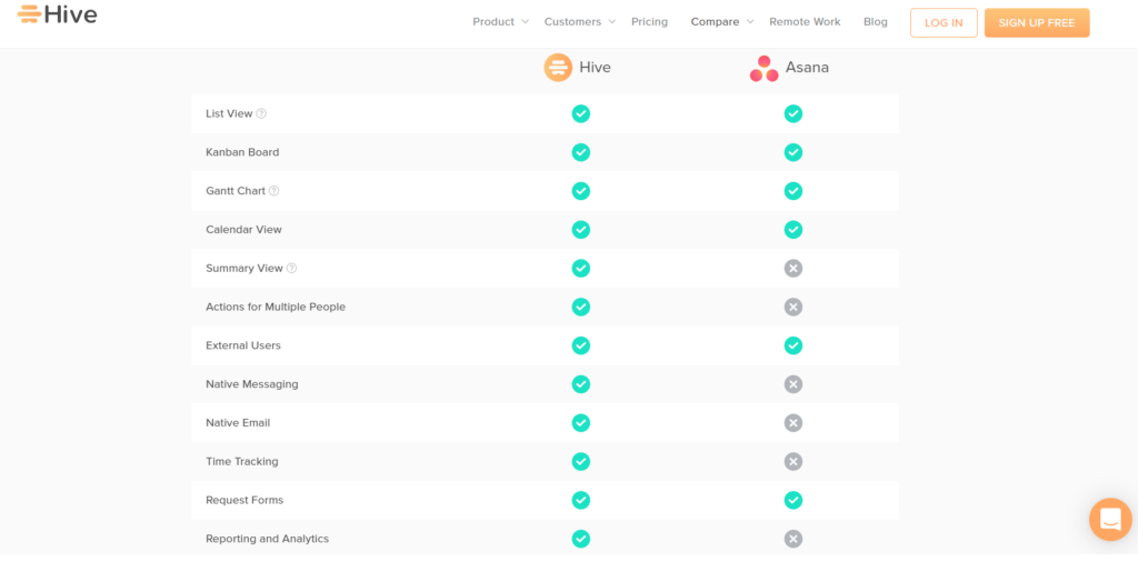 Hive project management software and one of the Asana alternatives - features like one solution
