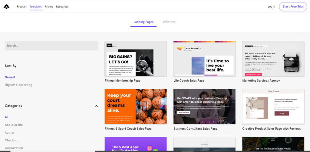 landing page software that is easy to use and comes with a drag and drop editor and well designed templates for website