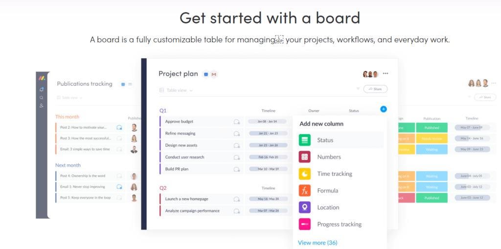 Project management software monday.com that helps with time tracking and task management