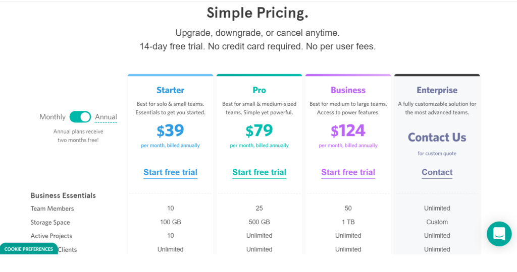 Project management software pricing plans for per user per month and allows one projects to 10  projects