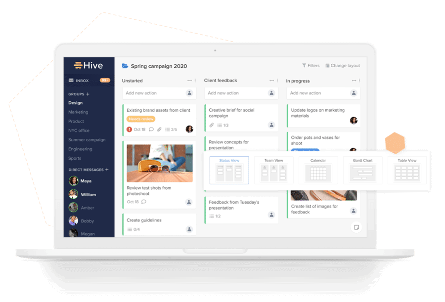 tools for freelancers - hive - sync with your project progress