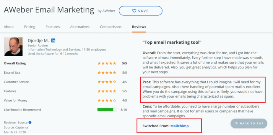 Aweber email marketing comparison with mailchimp