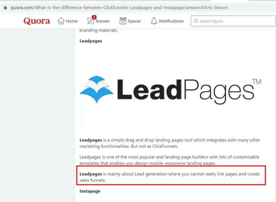 LeadPages vs Instapage - Landing Page Builder Comparison 1