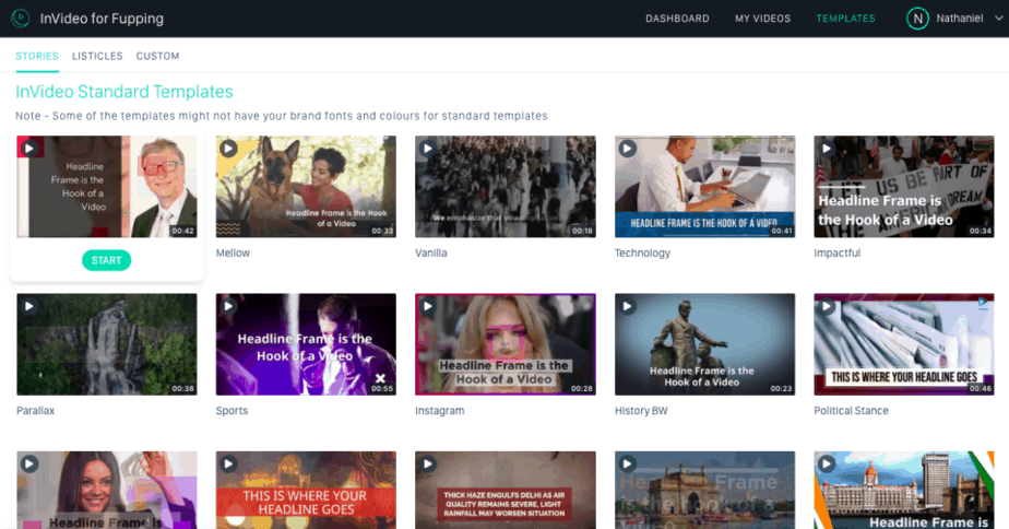 tools for content marketers - invideo