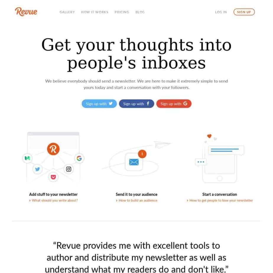 tools for content marketers - getrevue - email marketing tools - optimize your content to get subscribers