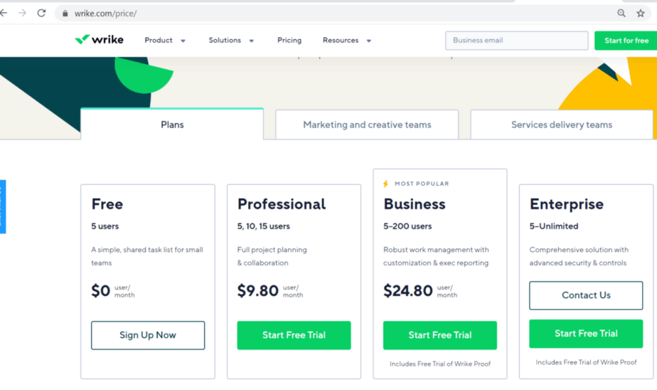 alternative to Basecamp - price for plans - upgrades - real time tracking and editing for project managers - trial plans