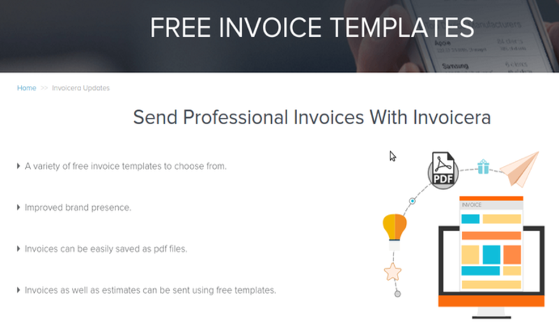 invoicing software - invoicera - completely free tool - help you save time - best invoice templates - manage monthly  balance - use on different devices