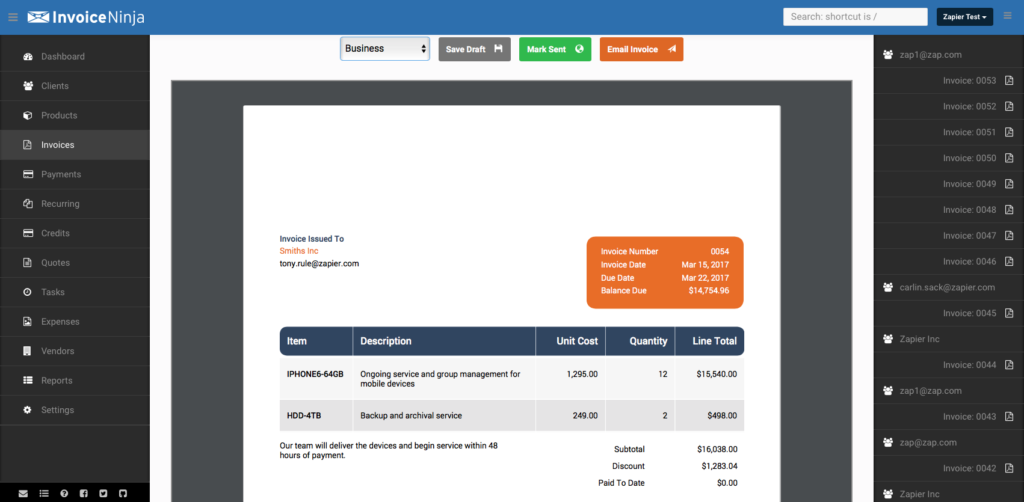 best invoicing software tools - invoice ninja - multiple currencies - billing and invoicing - manage bank account - send estimates - everything on dashboard