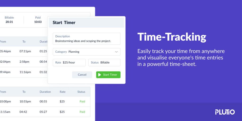time tracking for freelancer - plutio