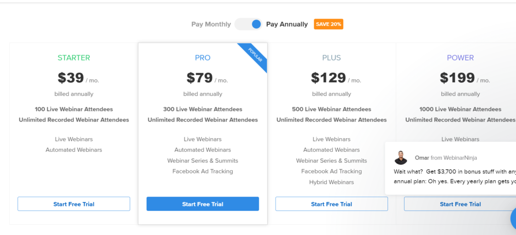 webinarninja pricing- Gotowebinar alternatives