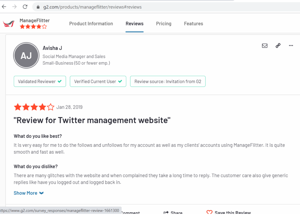 g2crowd review - read manageflitter review