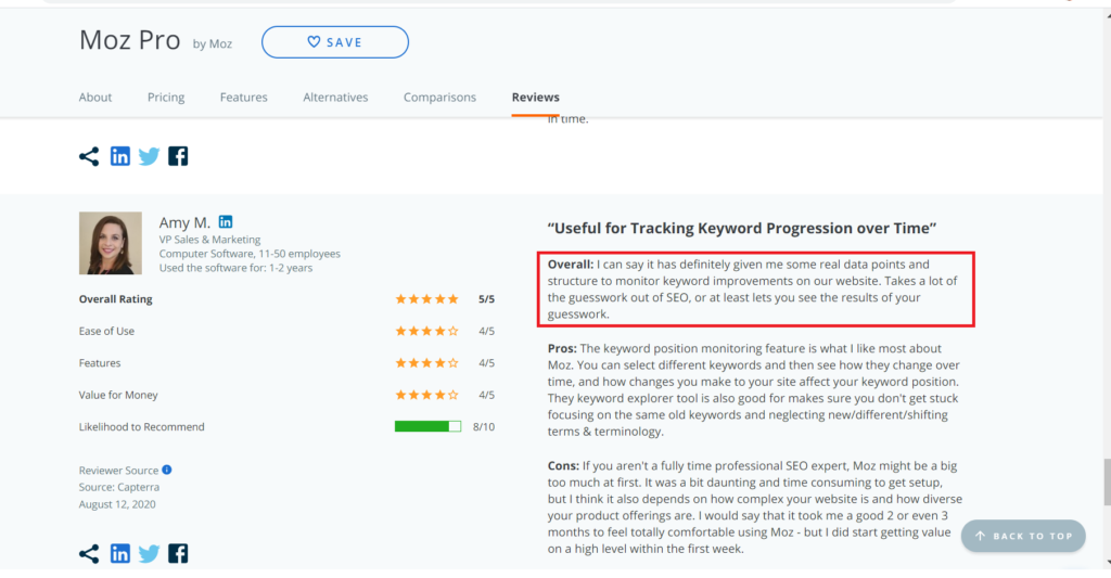 Track difficulty scores , backlink profiles and other with moz pro