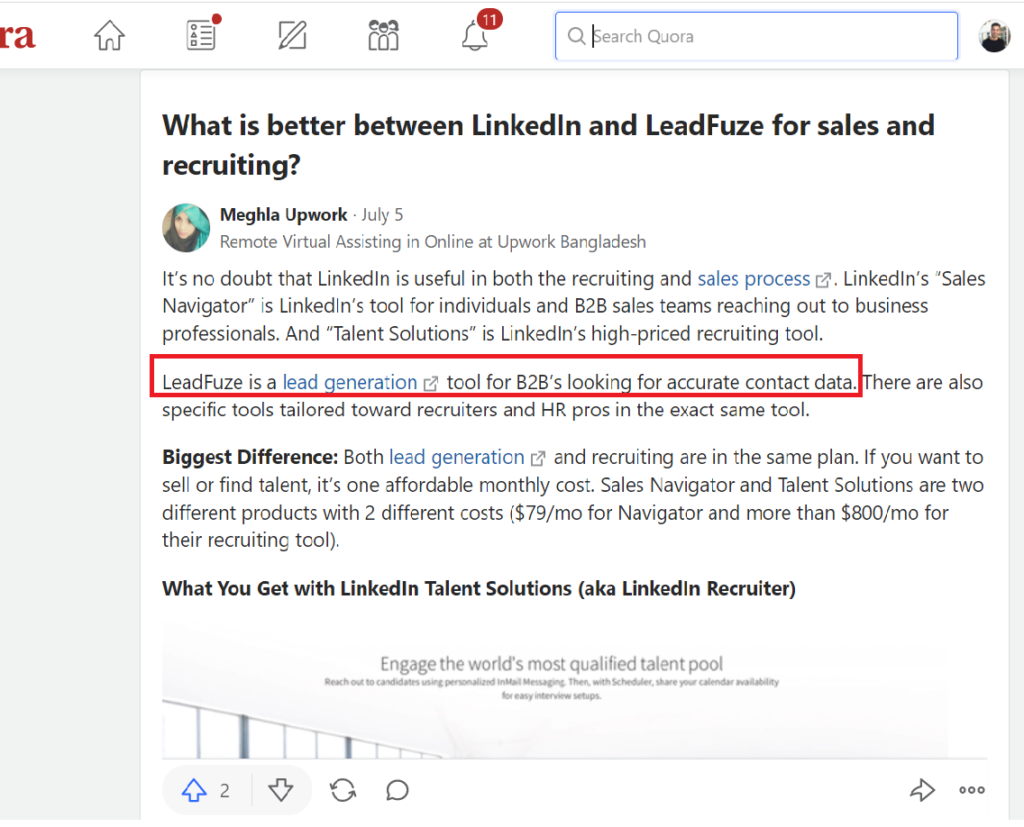Leadfuze helps generate sales leads