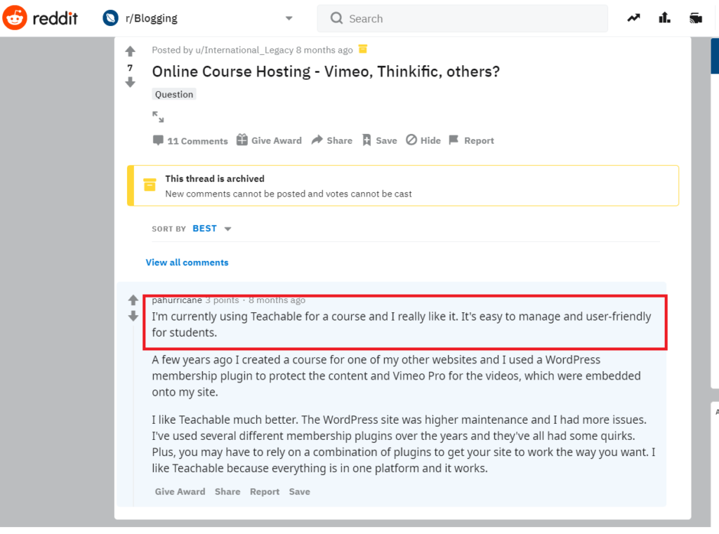 Teachable choose to use - looking for options to set, build and sell different courses - comments