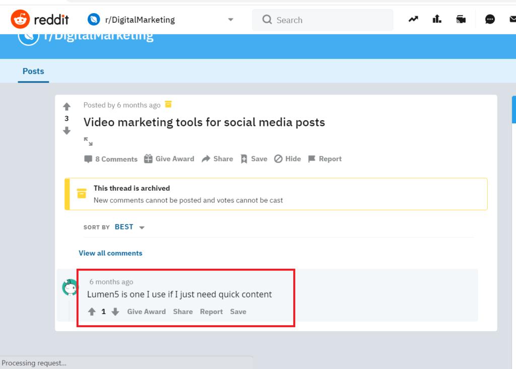 Lumen5 Reddit discussion