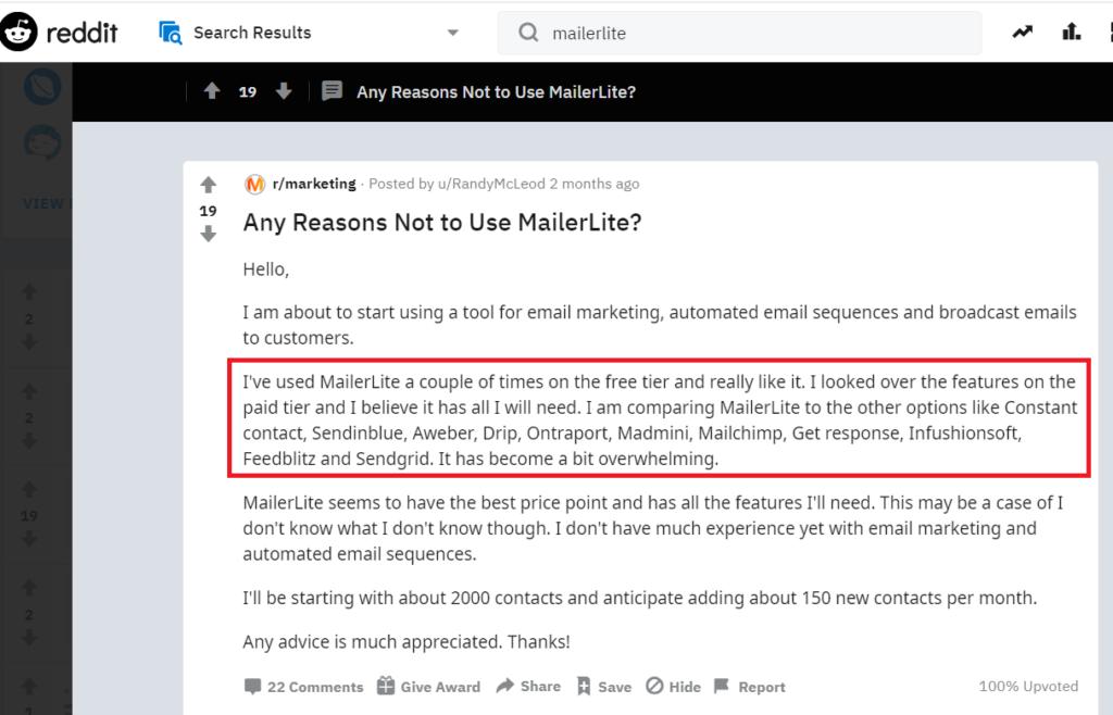 mailerlite reddit thread