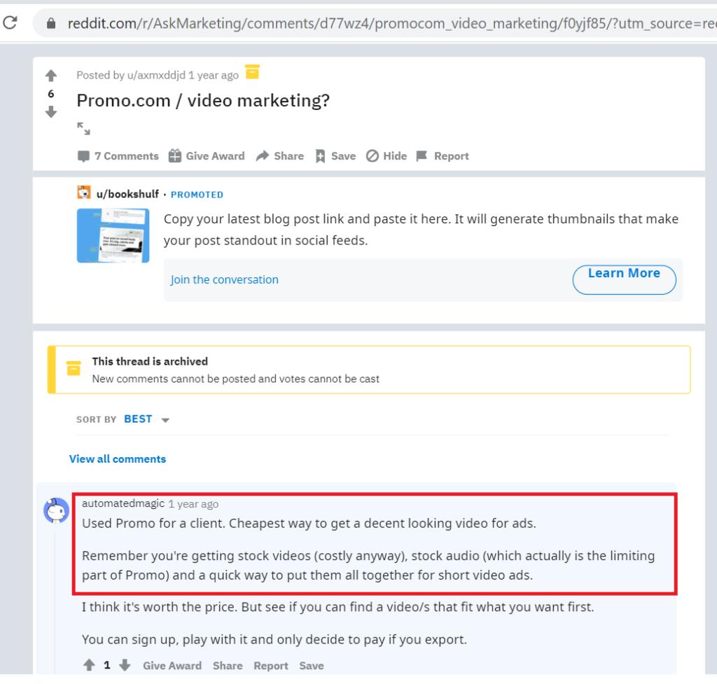 promo.com Reddit discussion - online video editor