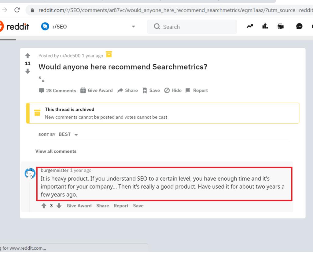 Searchmetrics Reddit