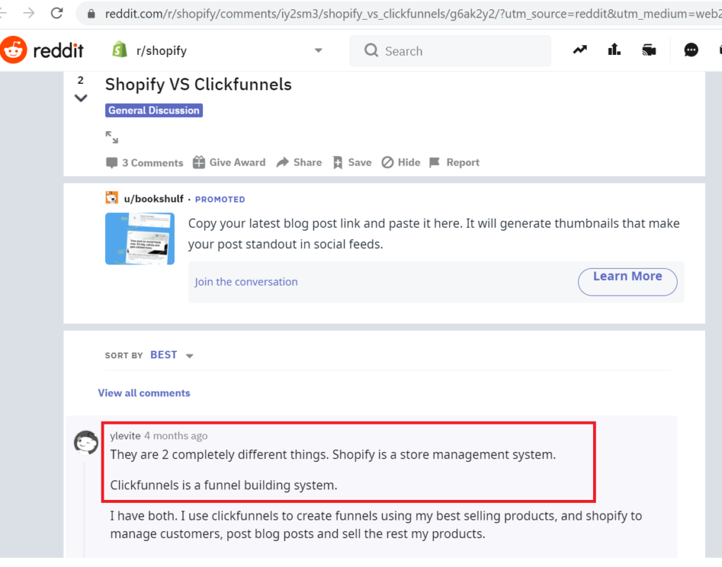Comparison of Clickfunnels vs Shopify Features 1