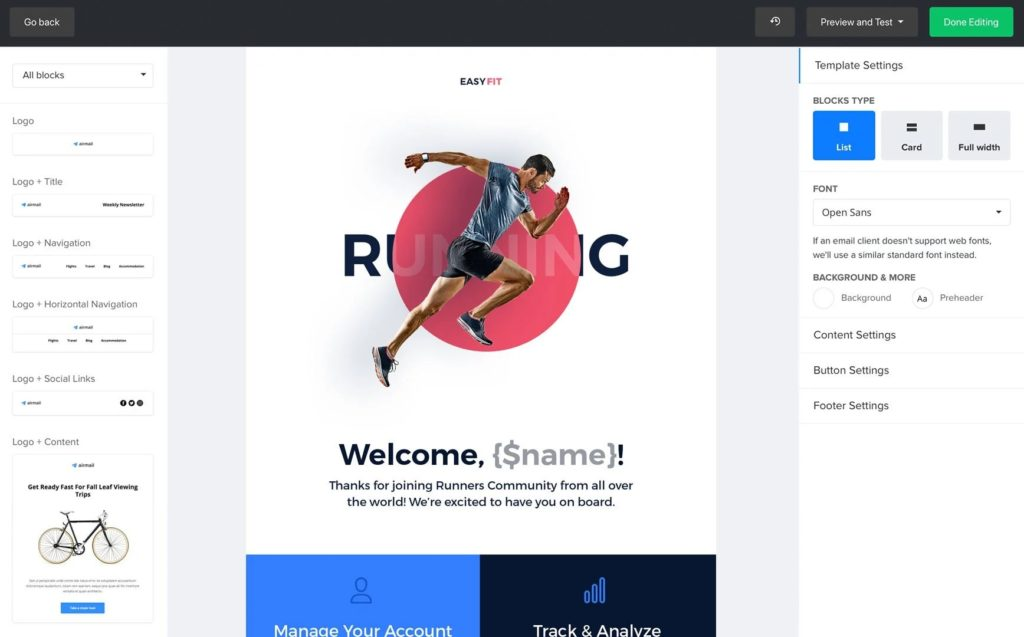 mailerlite email block email editor is better alternative - shopify - beginner friendly and customizable - tools like Mailchimp - real time reporting