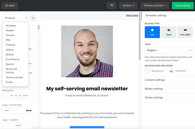mailerlite block email editor - better than mailchimp - paid plans - great for small businesses - best for web push notifications - shopify chat - reach towards