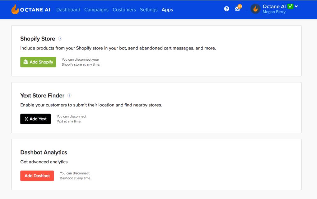 chatbot website platforms - octane ai
