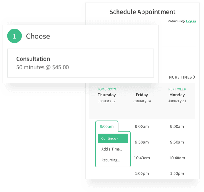 tools for appointment management - acuity scheduling