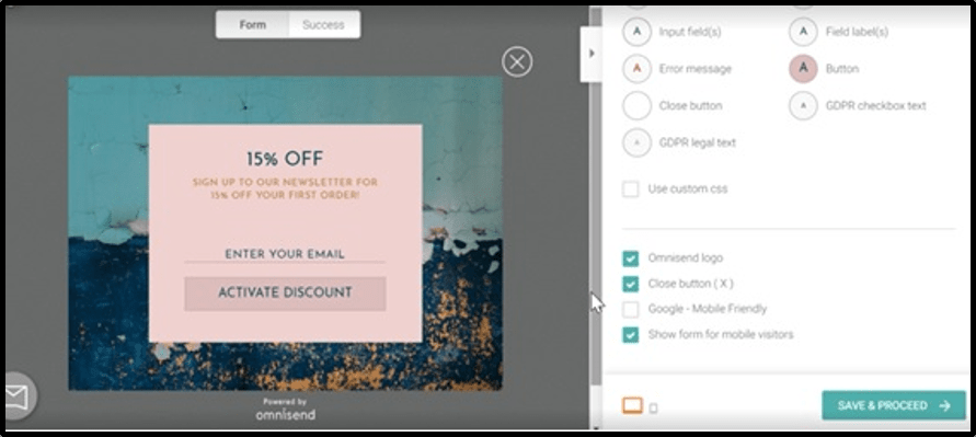 omnisend cart features - focus on ecommerce solution - scale with your business growth - create powerful branding - discount code and codes - set rules to follow