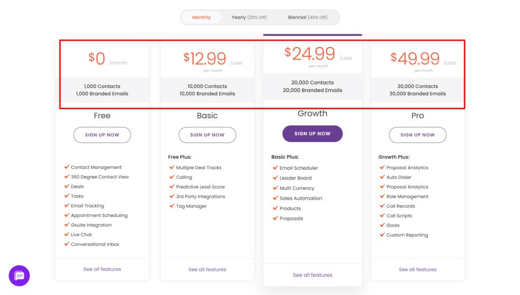 EngageBay Pricing page screenshot